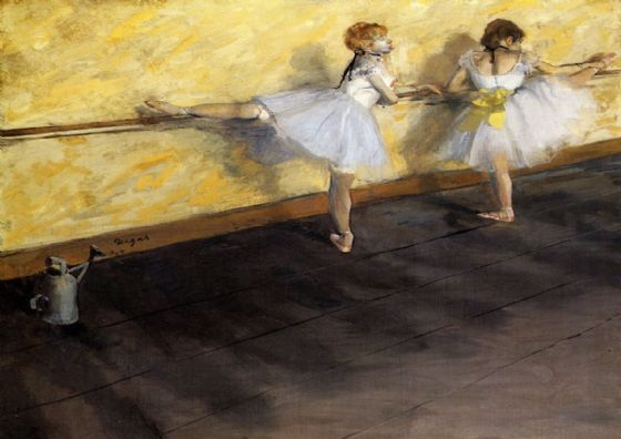 Degas, Edgar: Ballet Dancers Practicing at the Bar. Fine Art Print/Poster. Sizes: A4/A3/A2/A1 (001376)